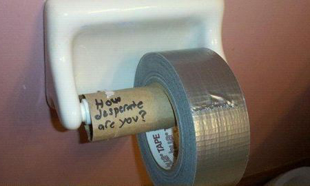 Duct tape toilet roll