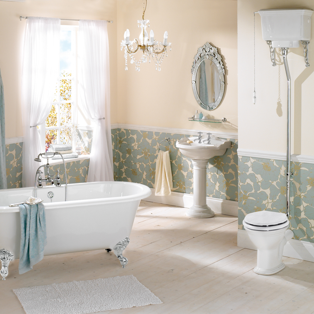 Add a classic look to your bathroom with the new for Victorian era bathroom designs