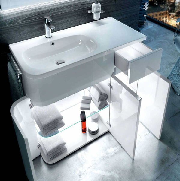 Aqua Arc Bathroom Cabinet with Basin