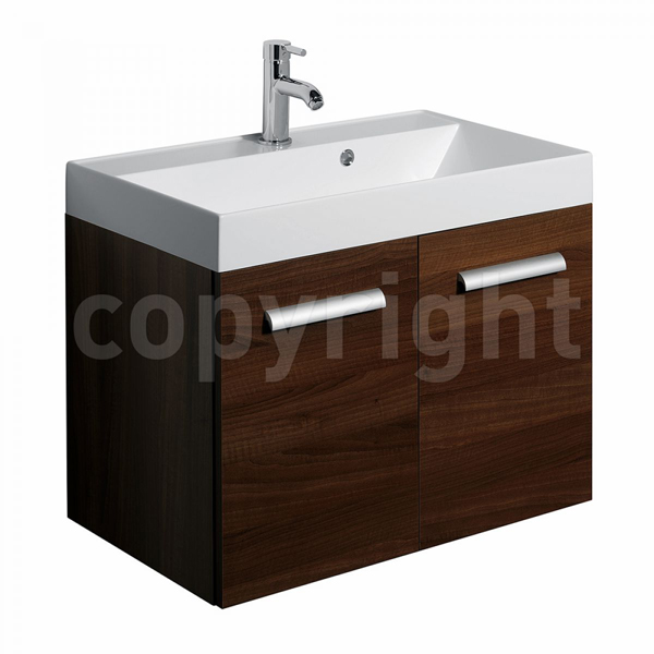 Bauhaus Design Walnut Wall Hung Two Door Basin Unit