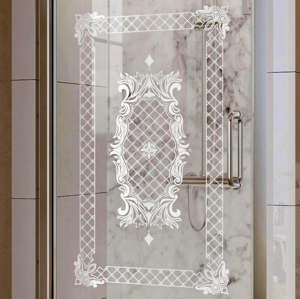 Roman Decem Victoriana Print Hinged Shower Door