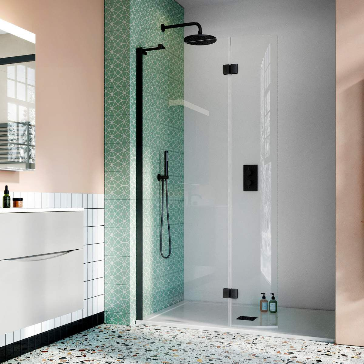 mix and match shower room idea