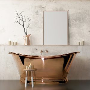 This is an elegant example of a copper freestanding bath, it has beautiful curves and a hand polish which just adds a certain level of opulence. Perfect for spa day.