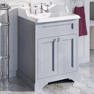 This vanity unit comes with a basin and is a calm blue in colour