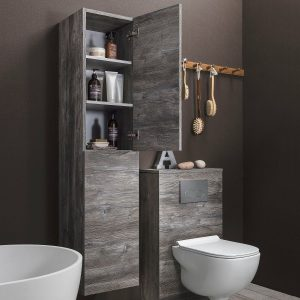 This wood effect tower unit is part of a matching Glide II bathroom furniture with toilet and sink