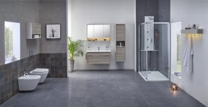This is a full sized bathroom, with toilet, bidet and shower enclosure. There is also a sink, mirror, tall cabinet and hanging mirror. All the items in this room belong to VItrA's Integra range. The colour scheme is monochromatic greys. This room is reminiscent of a spa day experience.