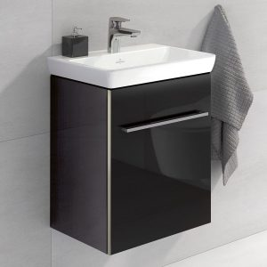 THis wall hung vanity unit is very slim with a black stream like appearance