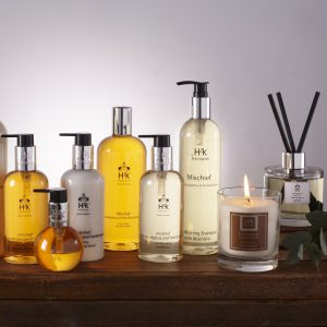 This is the H2k mischief hamper with body lotions and soaps made in Harroagate perfect for a spa day at home.