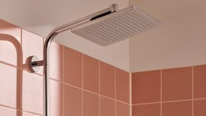 The Crometta Shower pipe from hansgrohe, which is of a square, large surface area. #AllMyFeels